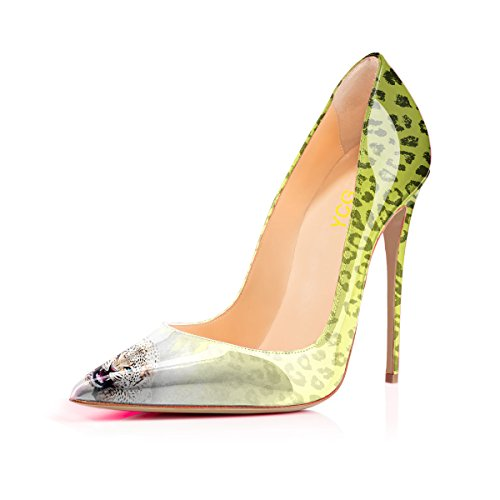 Leopard Patent High Heel - Women's High Heels Pumps Yellow Green Leopard Printing Slip on Shoes US 9.5