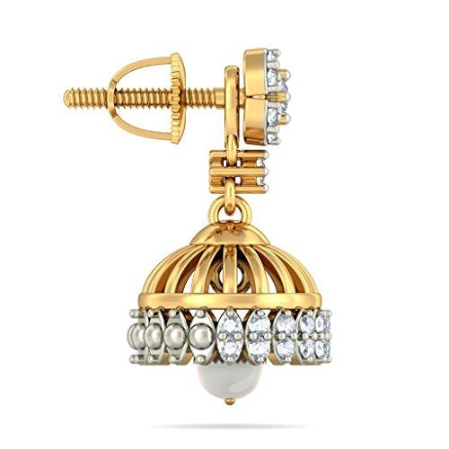 Or jaune 18K 0,49carat au total White-diamond (IJ | SI) et blanc perle Pendants d'oreilles