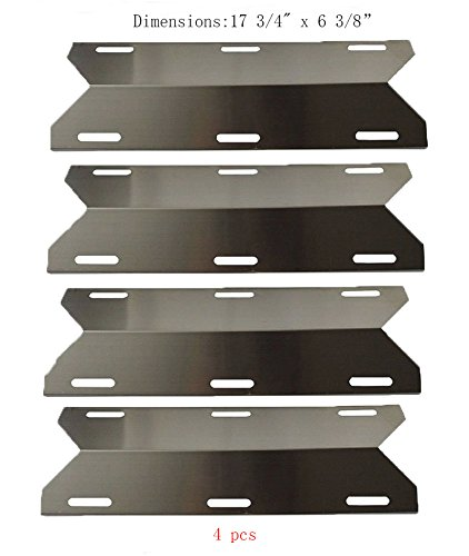 SP1231 (4-pack) Stainless Steel Heat Plate, Heat Shield, Heat Tent, Burner Cover, Vaporizor Bar, and Flavorizer Bar for Costco Kirland, Glen Canyon, Jenn-air, Nexgrill, Sterling Forge, Lowes Model Grills by BBQ Mart