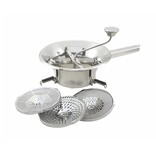FortheChefs 2 Qt. Stainless Steel Food Mill with 3 Graters, 9 inch Diameter
