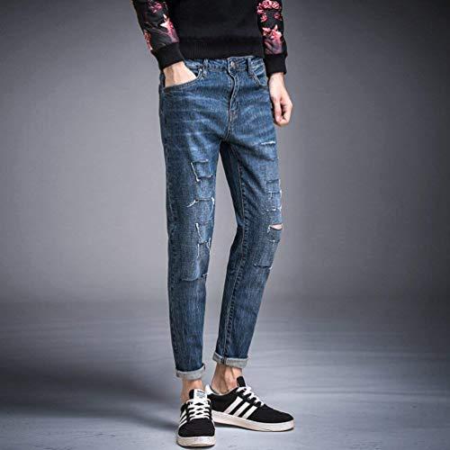 Skinny Especial Alsbild Strappati Motociclista Slim Fit Estilo Jeans Pantaloni Da Foro Casual Uomo Felpati gOqUE8ng
