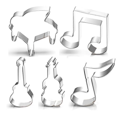 GXHUANG 5Pieces Music Musical Instruments Cookie Cutter - Stainless Steel
