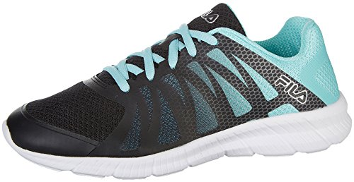 Fila Women's Memory Finition Running Shoe,Black, Aruba Blue, Metallic Silver,7.5 B(M) US by Fila