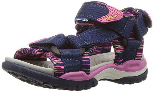 Geox Borealis Girl 7 Sandal, Navy/Fuchsia, 27 M EU Little Kid (10 US)