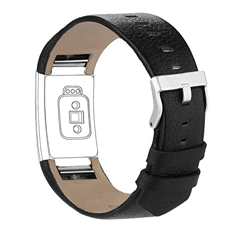 iGK Leather Replacement Bands Compatible for Fitbit Charge 2, Genuine Leather wristbands Black