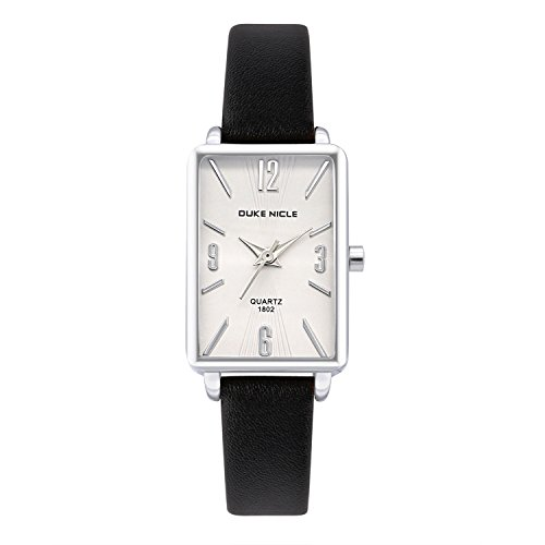 Womens Fashion Watch,Ladies Silver Rectangular Case Luxury Elegant Dress Waterproof Quartz Casual Wrist Watches for Ladies  with Genuine Leather Band (Black-1802) ()