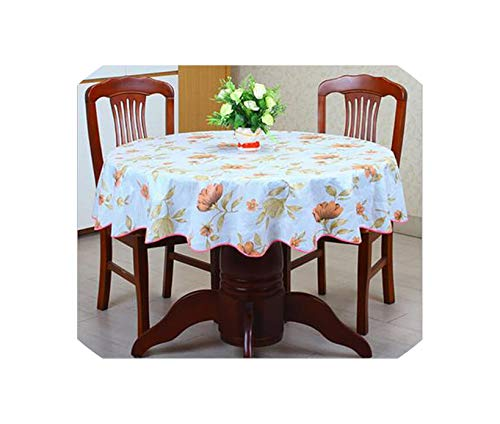 Pastoral Plastic Round Tablecloth PVC Oil Proof Waterproof Romantic Florals Printed Table Cover Wedding Decoration Table Clothes,0590,137cm