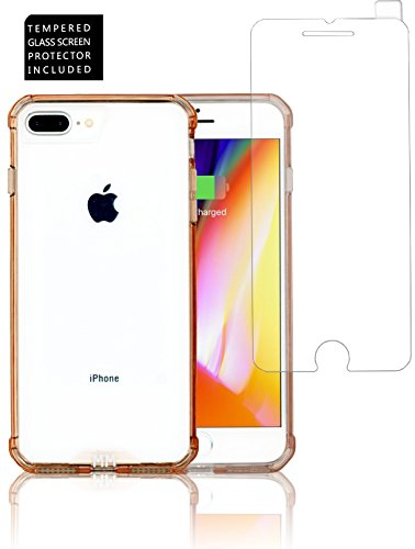 Moxie Air - iPhone 8 Plus/7 Plus/6S Plus/6 Plus Case - MM OPAL CRYSTAL Series With Tempered Glass Screen Protector, Air Cushion Technology, Crystal Clear Case, Scratch Resistant (Rose Gold)