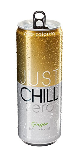 Just Chill Zero Ginger 12 oz Can (Pack of 12) Calorie Free, Stress Relief Calming & Relaxing Beverage, Made with SunTheanine to Enhance Focus; Sugar Free, All Natural, Non GMO - Blue Maui Ginger