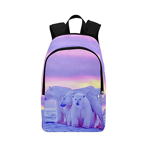 - Unique Debora Custom Outdoor Shoulders Bag Fabric Backpack Multipurpose Daypacks for Adult with Design Polar Bear Cubs Canadian Arctic Sunset