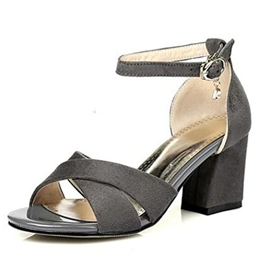 Easemax Womens Mid Chunky Heel Faux Suede Open Toe Ankle Buckle Strap Sandals With Pendants Gray JzrvFHS