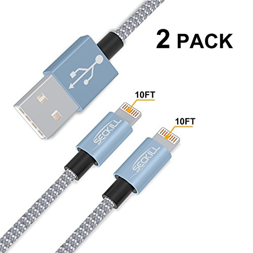 ToughLine Cable [2Packs 10FT] Extra Long Nylon Braided Fast Charging Cord for Phone X/8/8Plus/7/7 Plus/6/6s/6 Plus/6s Plus/5/5c/5s/SE,Pad, Pod and More (Gray+Silver)