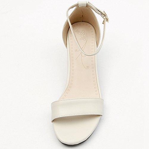 Sandalas boda Chunky abierta tacón correa blanco1 fiesta zapatos puntera medio sarairis vestido de tobillo Mujer OgWTF
