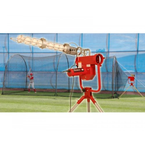 Heater Sports Pro Baseball Pitching Machine Ballfeeder & Xtender 24' + 12 Balls (Home Cage Batting Xtender 24)