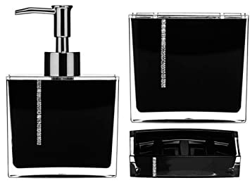 bathroom accessories set 3 piece black acrylic with crystals