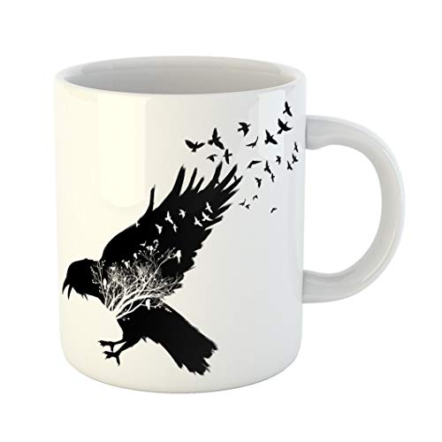 Emvency Coffee Tea Mug Gift 11 Ounces Funny Ceramic Crow Raven Double Exposure Trees and Birds Silhouettes on Flock Gifts For Family Friends Coworkers Boss Mug -