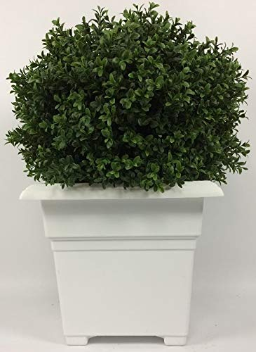 (Outdoor Artificial UV Rated 2 ft Ball Boxwood Topiary Tree with Square Sandstone Planter)