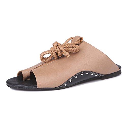 de Tanga Dingcaiyi para Sandalias Vendimia la Playa la Tama Mujer o Clip Correa Sandalias Boho Oto Roman Gran Calzado de Tobillo Zapatos o del Verano Caf Pisos Espiga Planas de de rFHRF