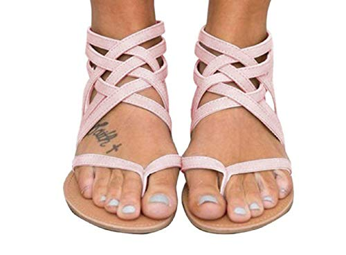 Xiakolaka Womens Strappy Sandals Flat,Ankle Wrap Summer Gladiator Shoes Pink 39 ()
