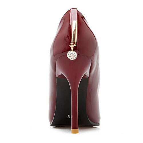 Schuhe Spitze Sexy Absatz Frauen Stiletto Gericht Herbst TAOFFEN Rot I6qz0wO