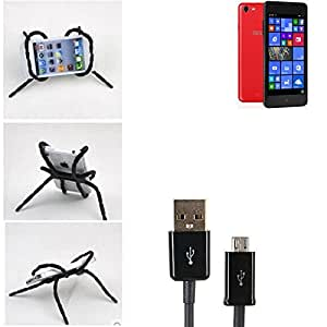 """soporte para coche y para mesa etc. para TrekStor WinPhone 4.7 HD, negro """"araña"""" cable USB. montaje de la salida aire, espejo retrovisor, bicicletas, etc. Trípode - K-S-Trade (TM)"""