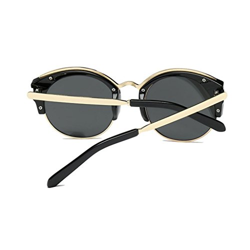 de monture protection Lunettes dames de mode hommes soleil de classique Argent sans pour semi demi monture rondes femmes GAOLIXIA UV400 soleil lunettes AqSdwqxv