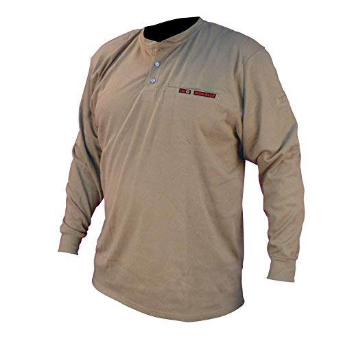 Radians FRS-002K-5X Volcore Long Sleeve Cotton Henley Flame Resistant Shirt, Khaki, 5X-Large