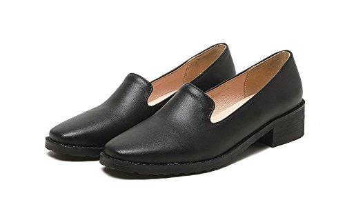 AllhqFashion Damen Niedriger Absatz Rein Ziehen auf Blend-Materialien Quadratisch Zehe Pumps Schuhe Schwarz