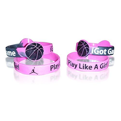 Women's Basketball & Girls Basketball Bracelets-Silicone (2 Bracelets per Pack) (Adult)