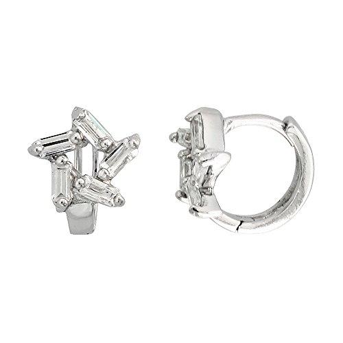 Sterling Silver Cubic Zirconia Star Cut Out Huggie Hoop Earrings, 3/8 inch round ()