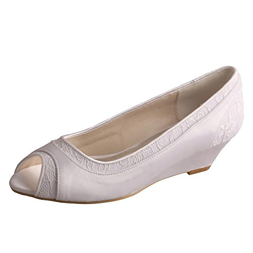 (Wedopus MW366 Women's Pumps Peep Toe Wedges Low Heel Lace and Satin Wedding Bridal Shoes Size 11 Ivory)