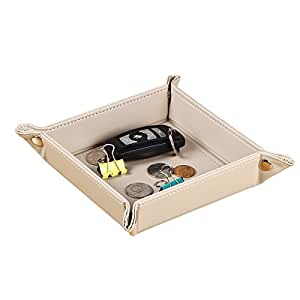 Valet Key Tray Wallet Watch Holder Leather Storage Tray Mens Nightstand Organizer Beside Table Catchall Bowl Travel Entryway Sundries Caddy for Coins Change Phone Dice Candy Accessories (Beige)