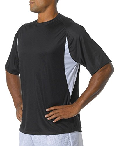 A4 Men's Cooling Performance Color Block Short Sleeve Tee, Black/White, Large