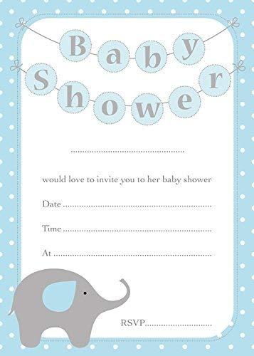 Invitaciones con diseño de elefante azul para baby shower y ...