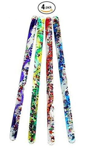 Toysmith Jumbo Spiral Glitter Wand (4 Pack) (Glitter Wand Party Favor)