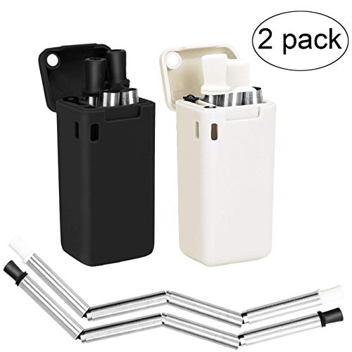 (Senfhome 2-Pack Collapsible Straws, Stainless Steel Reusable Foldable Drinking Straws | Keychains and Portable Case Included | Upgraded Cleaning Brush (Black/White))