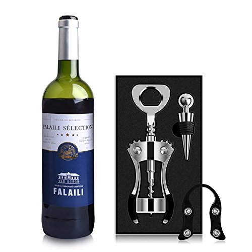 AUNOOL Corkscrew Wine Opener Heavier Wing Corkscrew Wine Bottle Opener, Bottle Stopper and Foil Cutter, Premium Corkscrew with Zinc Alloy (stainless steel) (1) by AUNOOL (Image #5)