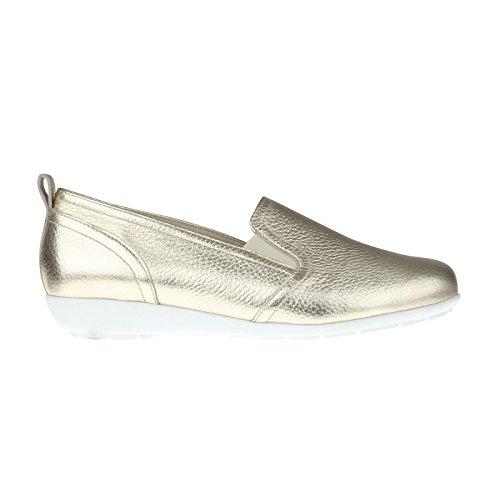 tessamino Damen Slipper aus Hirschleder in Metallic Optik | modisch | Weite H | für Einlagen Gold