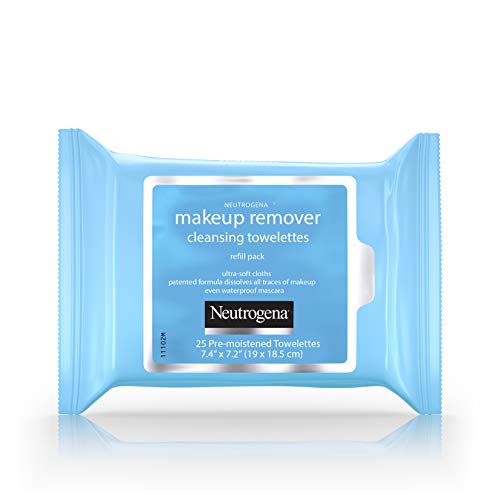 Daily Eye Makeup Remover - Neutrogena Makeup Remover Cleansing Towelettes, Daily Face Wipes to Remove Dirt, Oil, Makeup & Waterproof Mascara, 25 ct.