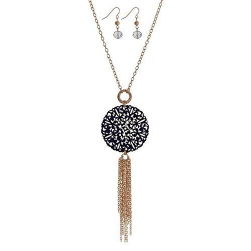 (Serene Turtle Jewelry Gold Tone Necklace Set with a Navy Blue Wooden Filigree Circle Pendant and Chain Tassel; with Matching Fishhook Earrings with Light Blue, Multi-Faceted Glass and Gold Tone Beads )