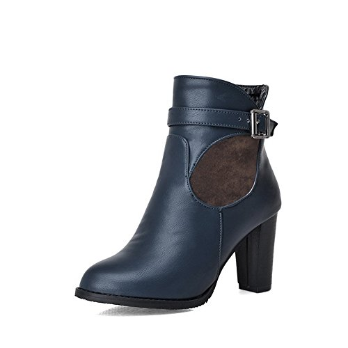 Allhqfashion Womens Zachte Materiële Rits Ronde Gesloten Teen Hoge Hakken Lage Laarzen Blauw