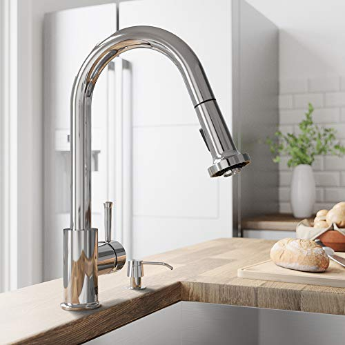 VIGO VG02002CH Harrison Commercial 15 Inch Single Handle Brass Kitchen Faucet with Pull-Down Sprayer and Soap Dispenser, Centerset Single Hole Kitchen Sink Faucet, 30 Inch Extendable Braided Nylon Hose, Swivel Head Design, Plated Seven Layer Chrome Finish
