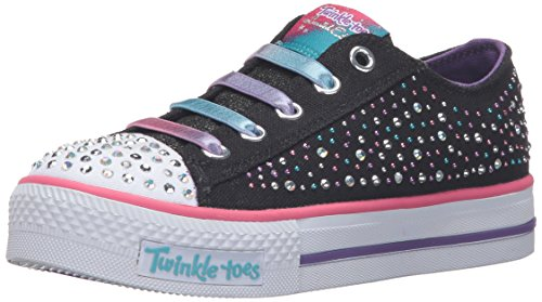 Skechers Kids Twinkle Toes Chit Chat Light-Up Lace-Up Sneaker,Black/Multi,1 M US Little - Twinkle Toes