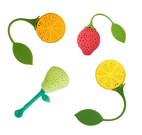 Naranqa Silicone Fruit Shape Cute Tea Bag Funny Loose Leaf Tea Infuser in Strawberry Pear Orange and Lemon Shape 4 Colorful Cool Tea Infuser Strainer for Mug Cup Herbal Weight Loss Tea-Dishwasher Safe
