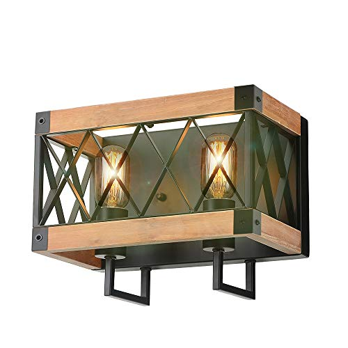 (Eumyviv Rustic Wood Wall Lamp with Mesh Cage Industrial Wall Sconce, Retro Bathroom Lamp Log Cabin Home Vintage Edison Sconce Light Fixture 2-Lights, Brown (W0058))