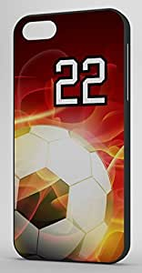 Flaming Soccer Sports Fan Player Number 22 Black Rubber Decorative iphone 5s Case