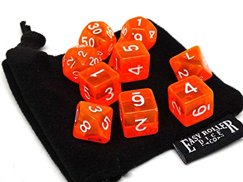 10 Piece Orange Translucent Polyhedral Dice Set - Includes Four Six Sided Dice (D6) and Free Small Dice Bag