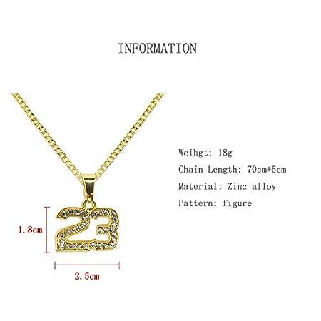 Purra145 Crystal Hip Hop Basketball Legend Number 23 Bling Gold Cuban Chain Necklace for Men