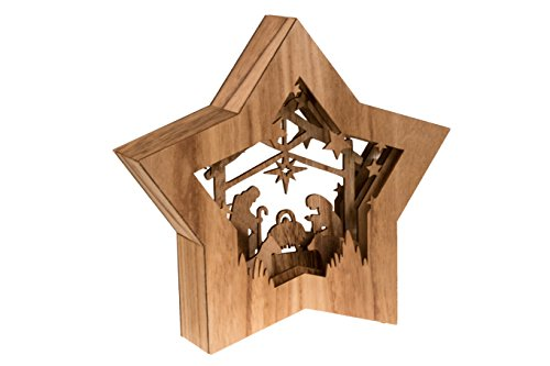 Clever Creations Star Shaped Nativity Collectible Religious Christmas Scene | Festive Holiday Décor | LED Backlight Layered Design | 100% Wood | 10.5