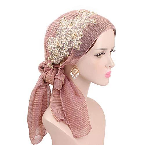 - DSstyles Women Ladies Glitter Floral Embroidery Turban Beaded Head Wrap Long Scarf Hat Light Purple